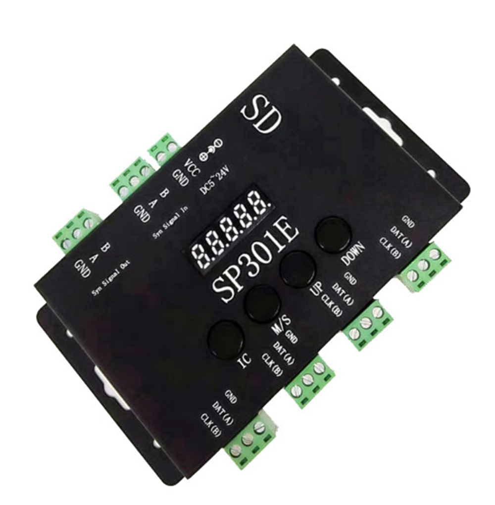 SP301E Programmable RGB LED Controller Syn Signal Out/ In For WS2811 WS2813 WS2812B SK6812 APA102 Pixel LED Strip Light DC5-24V