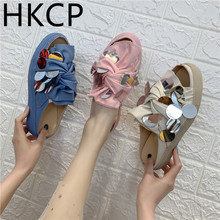 HKCP 2019 spring and summer new canvas cross sequins open toe thick-soled slippers casual shoes wear fashion tide C274