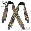 New Arrival Camouflage Print Elastic Suspenders Male Tactical Belt X Shape 4 Gun Black Clips-on Suspenders 110cm length MBD8464