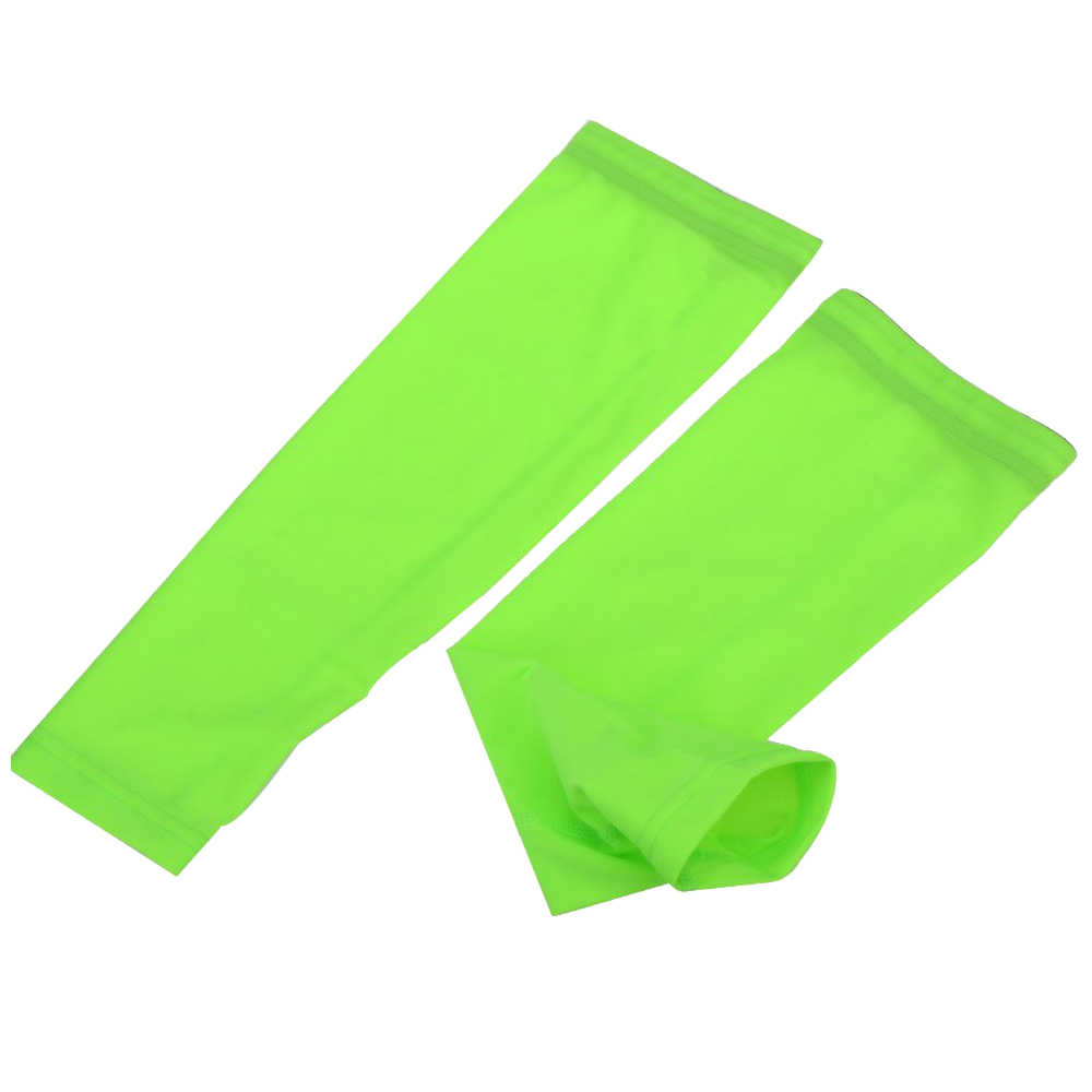 ARSUXEO 2 pcs UV protection arm cuff cycling sun bike for outdoor games Green M