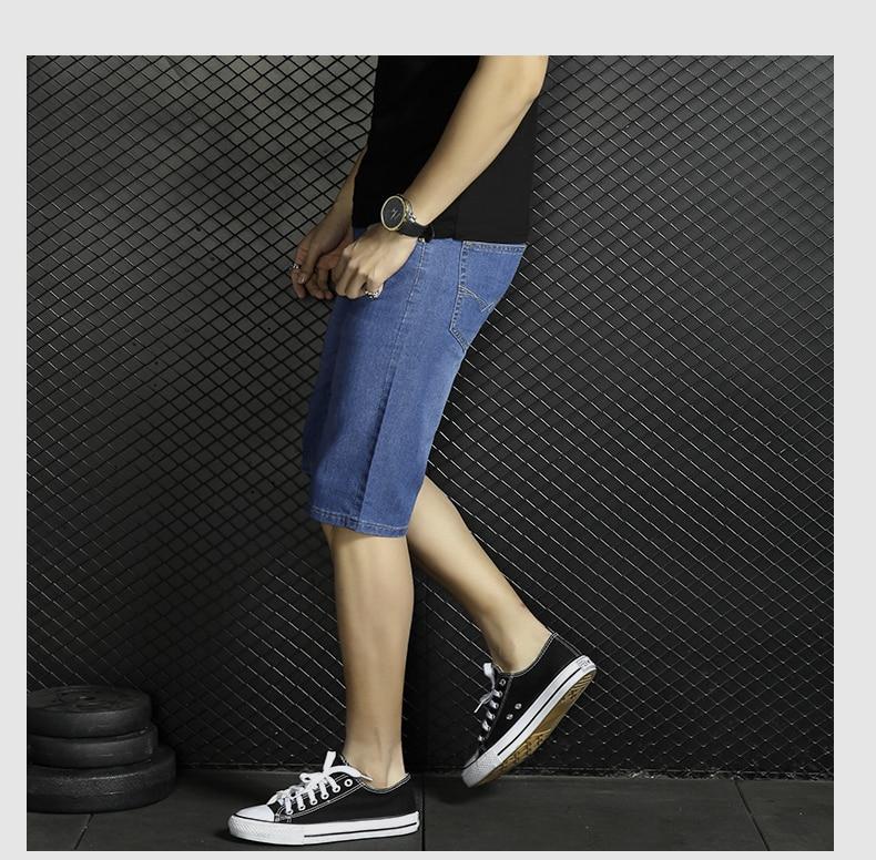 2017 Mens Cotton Denim Elastic Short Jeans New Male Blue Casual Men Straight Denim Short Jeans Size 28-40