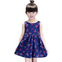 2019 Flower Girls Dress Sleeveless Kids Dresses For Girls Cherry Print Fashion Girl Summer Dress Children Princess Clothing цены