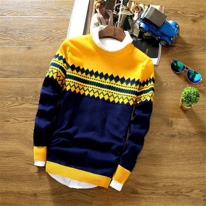 Men's New Casual Square Diamond Cotton Breathable Mens Sweaters Fashion Tide Brand Casual Round Neck Long Sleeve Men Sweater
