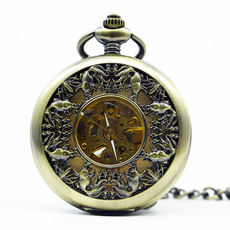Fashion Antique&Vintage Fish Pattern Bronze Mechanical Pocket Watch Hand Winding Skeleton Men Women Gift With Fob Chain PJX1275