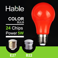2016 Hable  5W  220-240V Red LED Bulb Light  E27 B22 Colorful LED Lamp 2700K SMD 2835 With Warranty Card