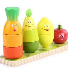 New Creative Fruit Wooden Cartoon Building Blocks Enlightenment Children's Educational Toys Gifts Building Blocks цена 2017