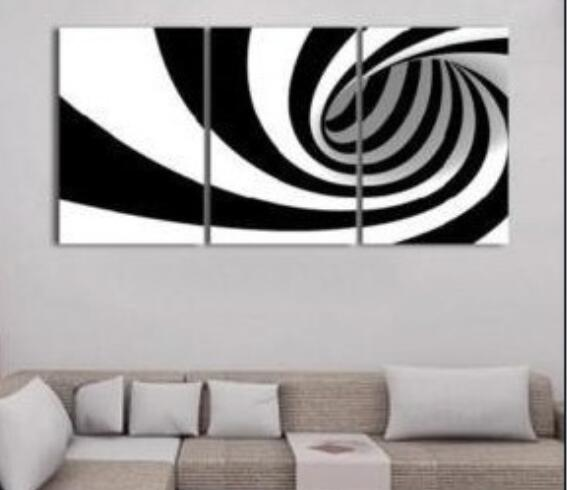 Modern Abstract Art Oil Painting On Canvas White Black Whirlpool Hand Painted 3 Panel Wall