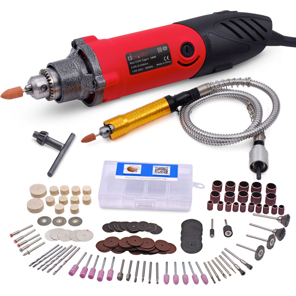 240W Electric Mini Drill Variable Speed Multi functional Rotary Tools with 141pcs Kit for DREMEL Style With Flexible Shaft-in Electric Drills from Tools on