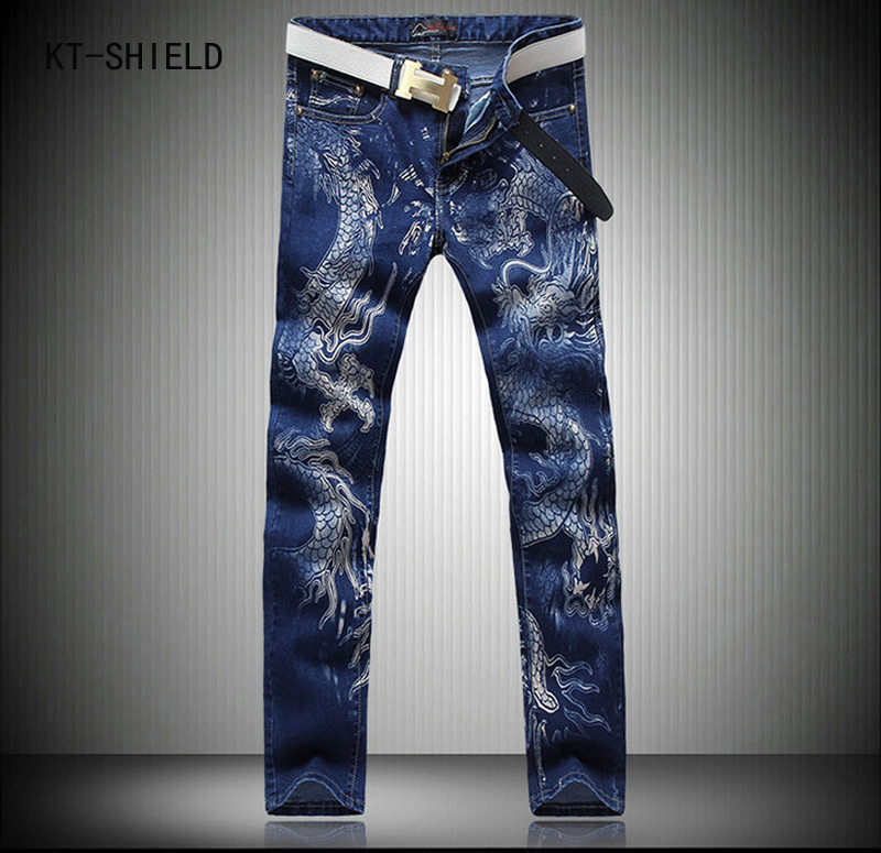 Designer Brand Blue Dragon Printed Jeans Men Casual Mens Stretch Biker Jeans Homme High Quality Jogger