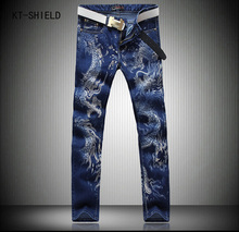 Designer Brand Blue Dragon Printed Jeans Men Casual Mens Stretch Biker Jeans Homme High Quality Jogger Harem Pants Men Plus Size