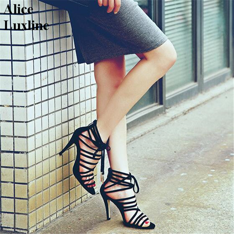 Super sexy fashion women high-heeled sandals shoes thick heels sandals plus size 44 45 suede strappy Rome nightclub lady pumps
