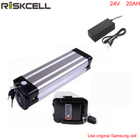 silver fish case 24v 20ah e bike battery 24 volt 300w lithium battery pack with charger and bms