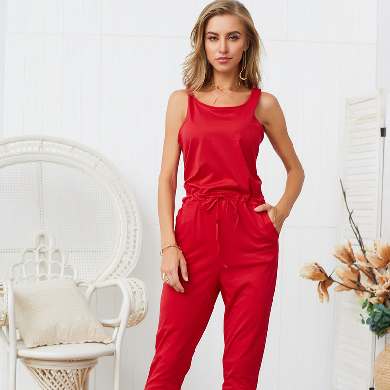 Womens rompers jumpsuit Cotton jumpsuit summer 2019 macacões elegantes Solid color Bandage vogue jumpsuit New arrive fashion in Jumpsuits from Women 39 s Clothing