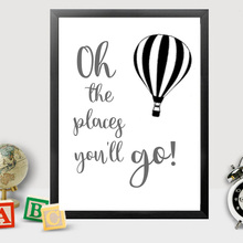 Oh The Places You Will Go Canvas Paintings Nursery Art Posters Prints Pop Travel Theme Pictures Toddler Girl Boy Room Home Decor