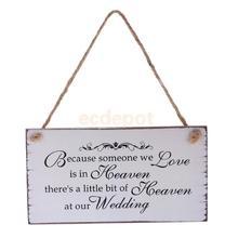 MagiDeal, потому что кто-то, кого мы любим, находится на небесах, дерево, свадебное оформление, памятник, винтажная деревянная подвесная табличка, свадебная табличка