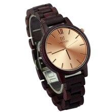 Moda de Nueva Antique Relojes De Lujo Madera Purpleheart Sandal Wood Reloj Movimiento Suizo de Cuarzo de Oro Para Hombre Reloj de Regalo Único