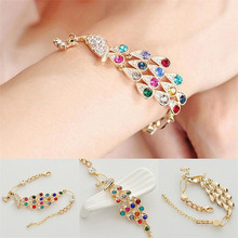 New Elegant Romantic Lover Charm Gold Colorful Peacock Bracelet Rainbow Bangles Crystal Jewelry Braclet For Women Gift WD210 2018 new fashion jewelry crystal from swarovski bracelet flashing little swan bangles women romantic christmas gift