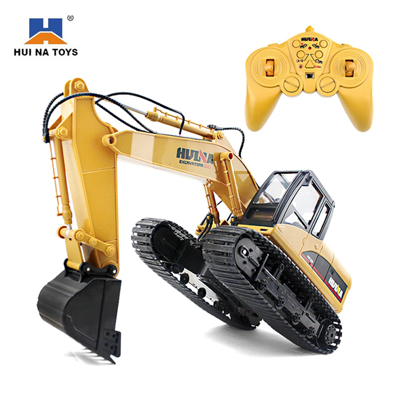 HuiNa 1550 RC Toys 15 Channel 2.4G 1/14 RC Metal Excavator Charging 1:12 RC Car With Battery RC Alloy Excavator RTR For Children