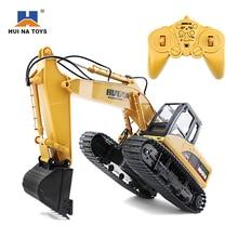 HuiNa 1550 Remote Control Excavator Toys 15CH Metal Excavator Charging 1:12 RC Car Darro De Controle Remoto RC Alloy Excavator