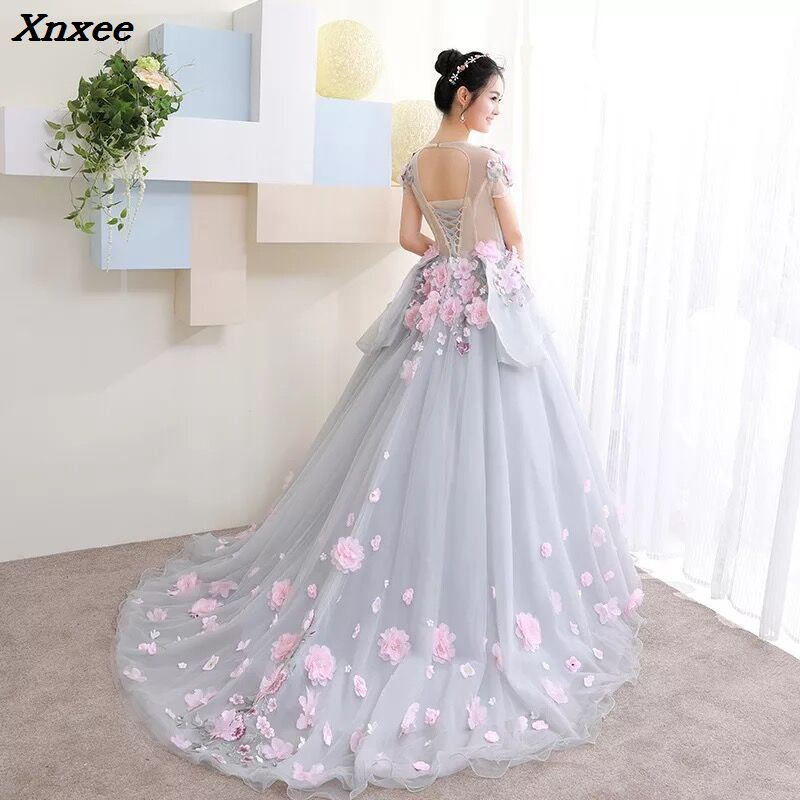 Xnxee nuevo vestido de baile vestido árabe para boda Scoop mano flores princesa vestidos De novia 2018 vestido de noiva bata De mariage-in Vestidos from Ropa de mujer    3