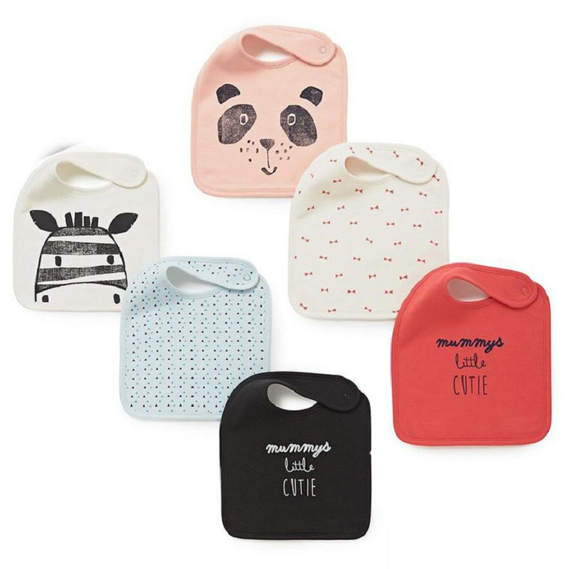 3pcs Assorted Brand Baby Feeding Bibs Double Layer Cartoon Cotton Bibs Zebra Panda Letter Pattern Burp Cloths Baby Accessories