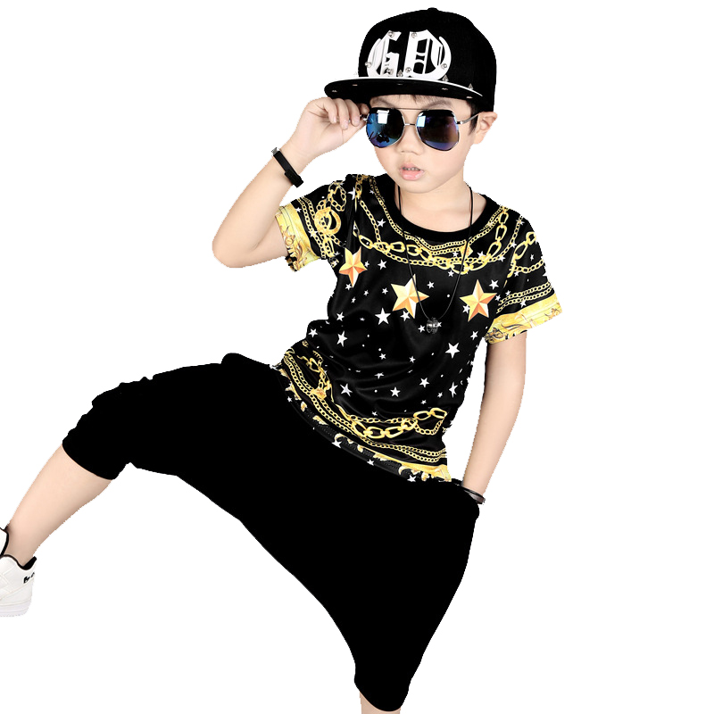 2017 Fashion Boys summer clothes kids hip hop clothing 100% Cotton t-shirt+shorts 2pcs Big boy clothes for 3 5 6 8 10 12 years