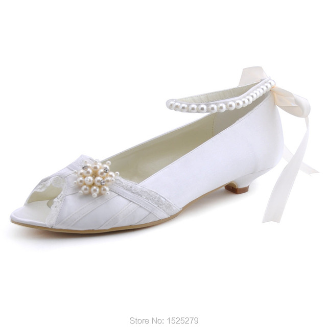 45a3927eb65 Women shoes Ivory White Low heel wedding Bridal Shoes kitten Ankle Strap  Pearls Satin Lady Bride Prom Party Pumps EP41021