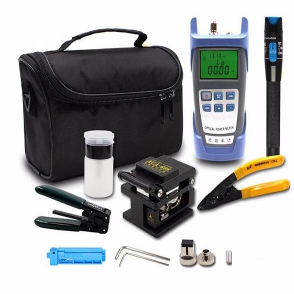 FTTH Set Of Tools Cold Contact Tool Kits Optical Power Meter + Fault Locator Fiber + Fiber Optic Cleaver AUA-60S With Strippers