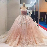 Blush Pink Ball Gowns Luxury Sleeveless Scoop Neck Ball Gown Evening Prom Dresses Plus Size Long Formal Dresses Special Occasion