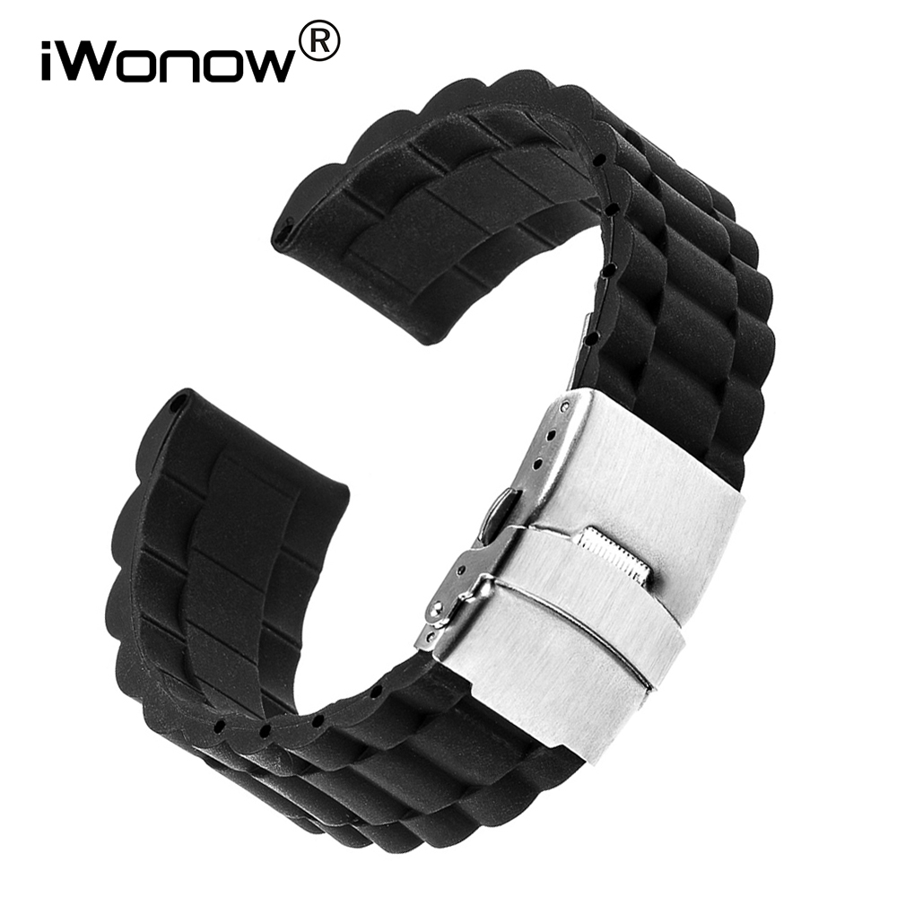 22mm Silicone Rubber Watchband for Pebble Time Moto 360 2 46mm Ticwatch 1 Vector Watch Band Steel Safety Clasp Wrist Strap Black