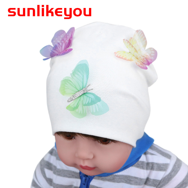 Sunlikeyou New Product Baby Girl Hat For Kids Newborn Boy Caps Cotton Soft Toddler Spring Butterfly Beanie Bonnet Warm Baby Hat