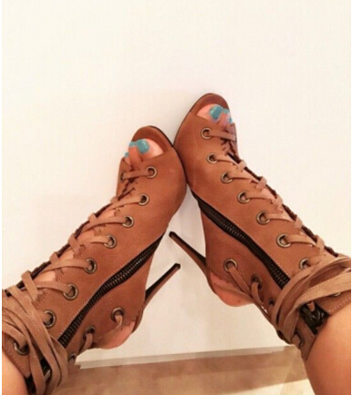 Young Ladies Brown Open Toe Short Booties Concise Design Lace-up Ankle Boots Thin High Heels Cross Fastening Dress Shoes US10
