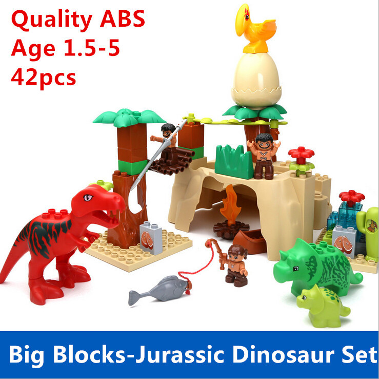 ФОТО 42pcs Big Building Blocks Jurassic Dinosaur Set Compatible with L*go Duplo Baby Toys Educational Toys Free Shipping