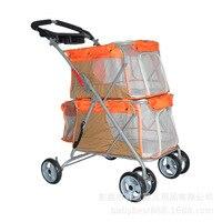 Двойной Слои собака коляска Деккер складные тележки 6 колес Cat корзину большой Ёмкость дышащий открытый Pet Carrier код