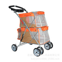 Double Layer Pet Dog Stroller Decker Folding Trolley 6 Wheel Cat Cart Large Capacity Breathable Outdoor Pet Carrier Product