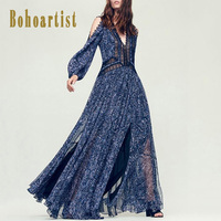 Bohoartist Women Dress 2018 Maxi Lace Expansion V Neck Western Dress Off Shoulder Patchwork Royal Blue Long Party Dress Girls