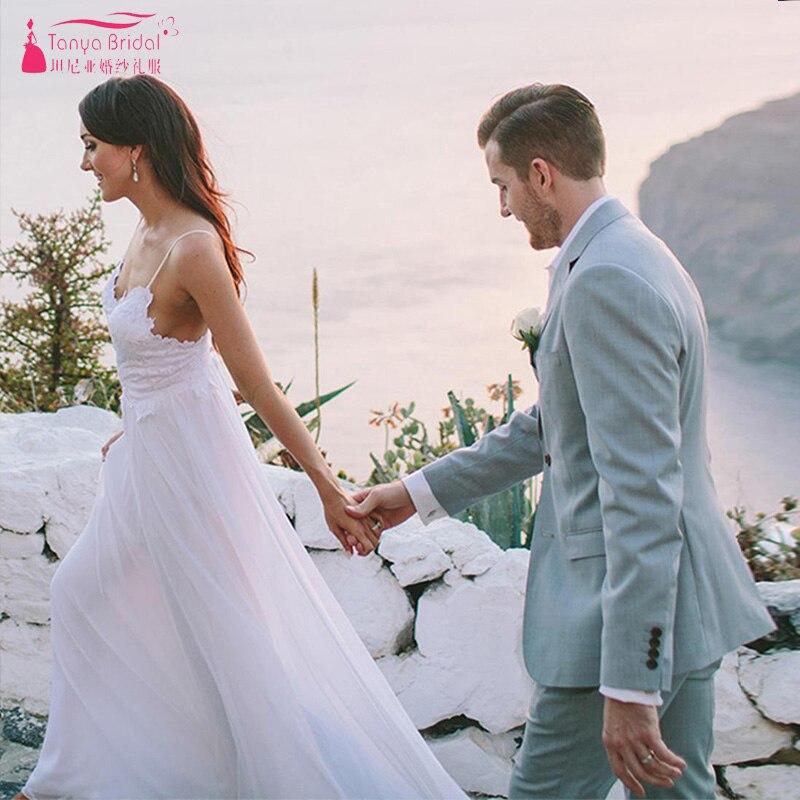 Image 5 - Modern Romantic Wedding Dresses Simplistic Elegant Fully Lined Skirt Bohemian Vestido De Noiva Bridal Gowns ZW168-in Wedding Dresses from Weddings & Events