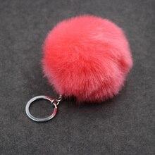 Faux Rabbit Fur Pompom Keychain Trinket Charm Bag Key Ring Holder Jewelry Gift Fluffy Pompon Fur Ball Key Chain For Women цена и фото