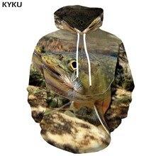 KYKU الأسماك هوديي الرجال الحيوان البلوز الاستوائية المحيط ثلاثية الأبعاد هوديس Fishinger مطبوعة أنيمي الهيب هوب ملابس رجالي كم مقنع