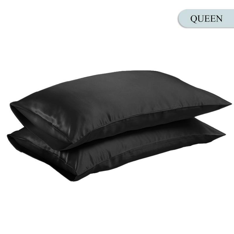 Queen/KING Silk Satin Pillow Case Bedding Pillowcase Smooth Home White Black Grey Khaki Sky Blue Pink Sliver 15