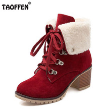 TAOFFEN Size 34 43 Ladies Thick Fur Ankle Boots Women High Heels Short Boots With Fur