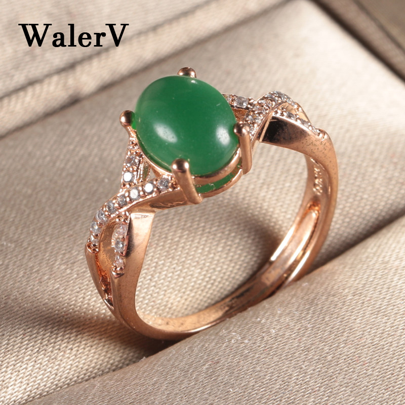 WalerV for Womens Ring Set Fashion Charm Gold Color Luxury Cross Zircon Open Ring Lady Oval Green Stone Crystal Wedding Finger