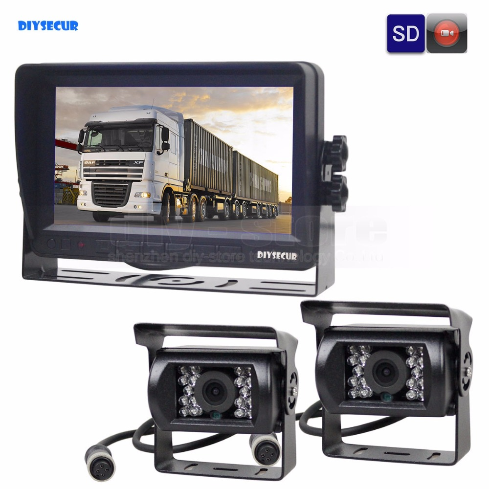 DIYSECUR AHD 7inch TFT LCD Car Monitor Rear View Monitor Waterproof IR 1300000 Pixels AHD Camera With Video Recording 1V2