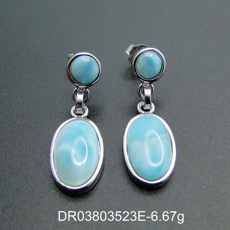 Top Quality Beautiful Blue LARIMAR Beads 2 STONE Art Earrings 925 Sterling Silver Women Drop Earrings