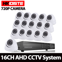 16Channel hdmi 1080p DVR AHD 720P Surveillance Kit 16PCS 1.0mp AHD 2000TVL Indoor White Dome Home Security Camera CCTV System