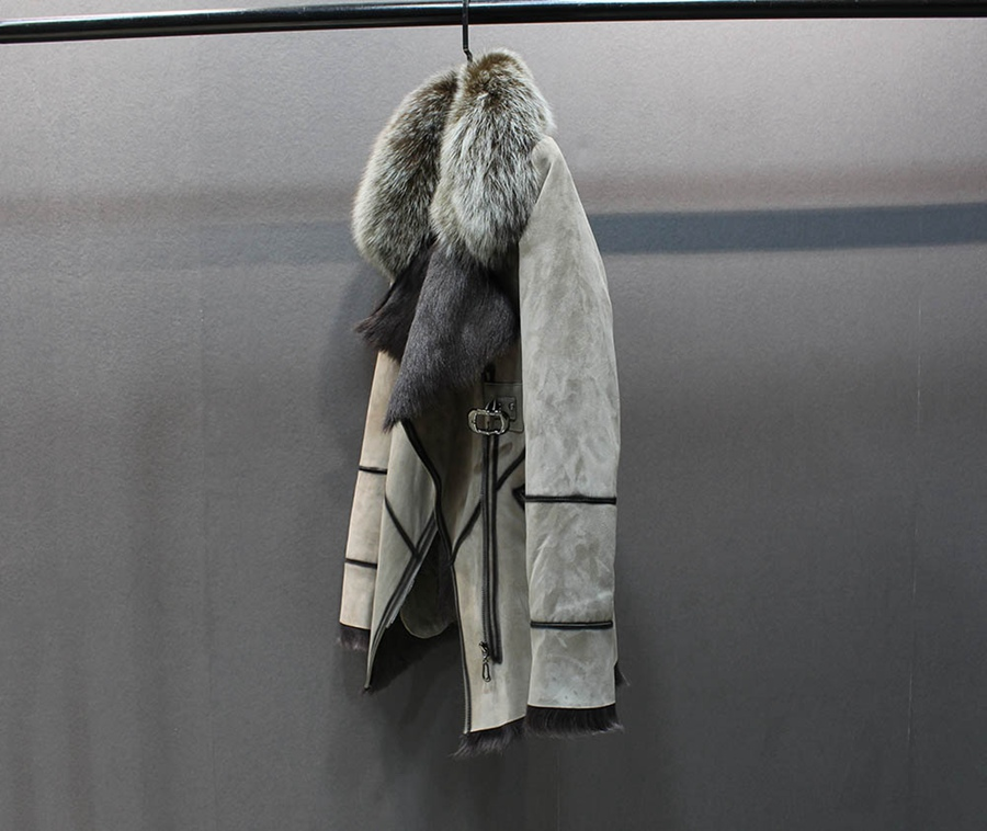 100% genuine sheepskin leather with fur coat slim with fox fur collar (2)