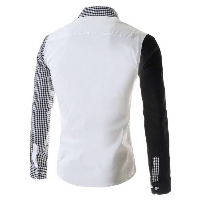 Белые мужские рубашки хит цвет асимметричные рукава дизайн повседневный slim fit с длинными рукавами рубашки xl