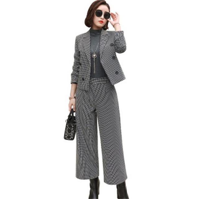 Plaid Pant Suits Women Autumn New Korean classic plaid short suit fashion  two-piece wide leg pants suit women Increase size 3XL 0562e5c1fe7f