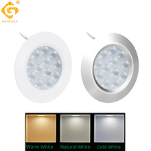 LED Under Cabinet Lamps Night Counter Lights 3W 12V Kitchen Indoor Lighting SMD Round Puck Lamp Cupboards Closet Light