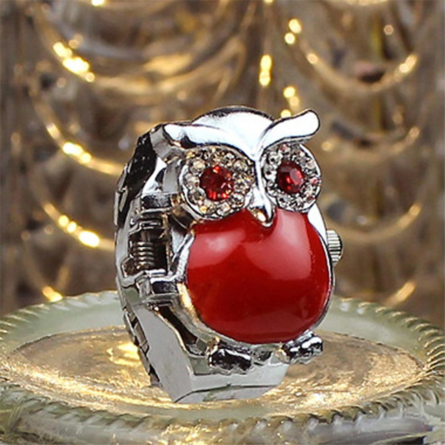bayan kol saati New Hot Creative Fashion Retro Owl Finger Watch Clamshell Ring Watch Gift Women Quartz Watch Stainless Steel